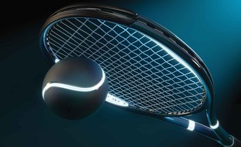 Tennis Racket Ball Neon Fototapet