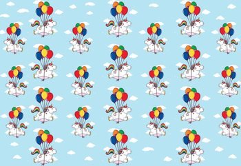 Unicorns And Balloons Pattern Blue Fototapet