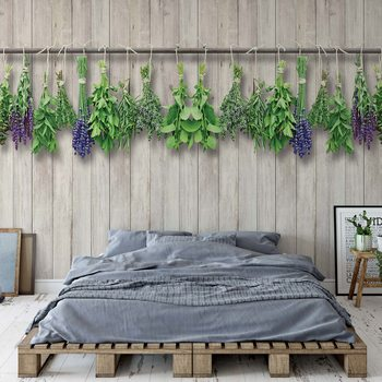 Vintage Chic Wood Planks And Herbs Fototapet