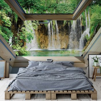 Waterfall 3D Skylight Window View Fototapet