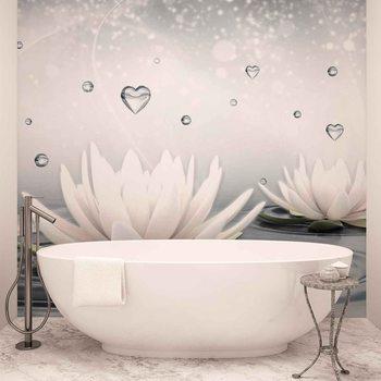 White Lotus Drops Hearts Water Fototapet