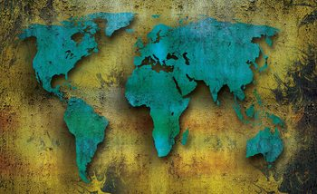 World Map On Wood Fototapet