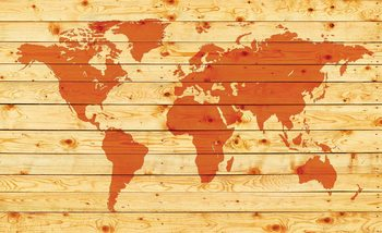 World Map Wood Planks Fototapet