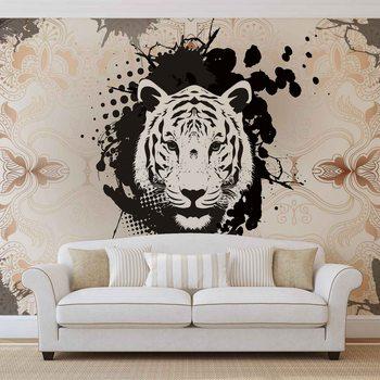 Abstrakcyjny obraz z głową tygrysa Fototapeta