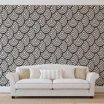 Abstrakcyjny wzór czarno-białe koła Fototapeta