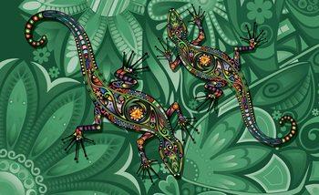 Abstrakcyjny wzór - jaszczurki i kwiaty Fototapeta
