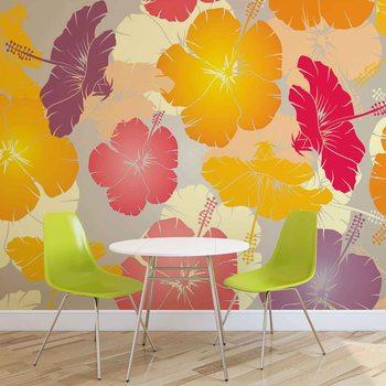 Abstrakcyjny wzór z kwiatami Fototapeta