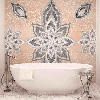 Abstrakcyjny wzór ze srebrnymi kwiatami Fototapeta