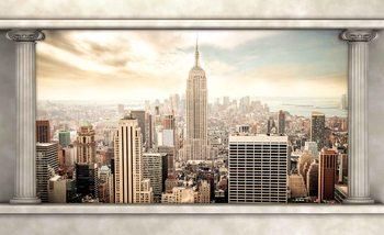 Antyczne kolumny - widok na Nowy Jork Fototapeta