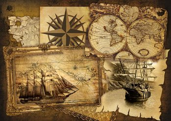 Archiwalne mapy i obrazy statków Fototapeta