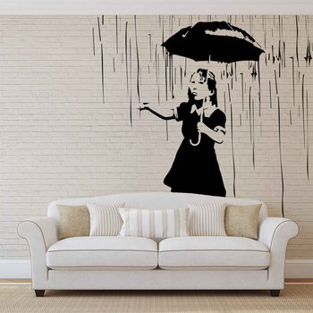 Fototapeta Banksy graffiti múr - tehlová stena