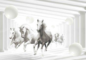 Białe konie wzór sferyczny Fototapeta