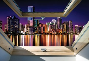 Fototapeta  City Skyline Night 3D Skylight Window View