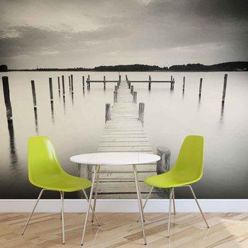 Czarno-biały widok na jezioro Jetty Fototapeta