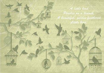 Dekoracyjny obraz - ptaki na gałęziach - zielony Fototapeta