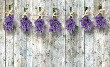 Fototapeta Drevené steny kvety levanduľa