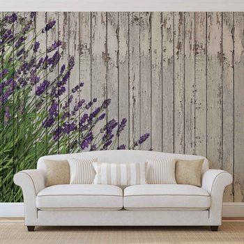 Drewniane panele z lawendami Fototapeta