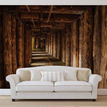 Drewniany tunel w kopalnii Fototapeta