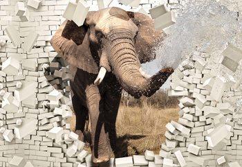 Fototapeta Elephant Bursting Through Brick Wall