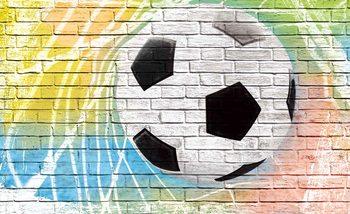 Fototapeta Fotbal - Cihlová stěna 254x184 cm - 115g/m2 Paper