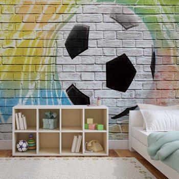 Fototapeta Futbal - Tehlová stena
