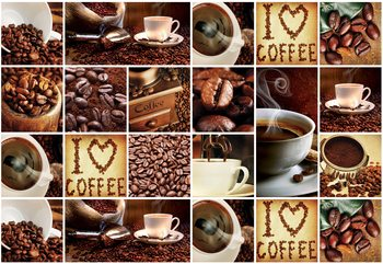 Fototapeta  I Love Coffee Squares