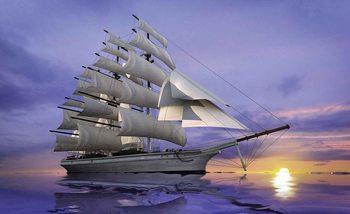 Fototapeta Jachta na moři, západ slunce