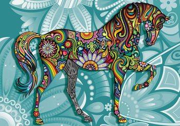Koń na tle kwiatowego wzoru Fototapeta