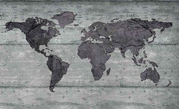 Kontury mapy świata na betonie Fototapeta