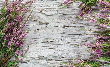 Kwiaty na drewnianym tle Fototapeta