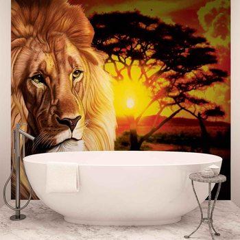 Lion Zachód słońca Afryka Drzewa Przyrody Fototapeta