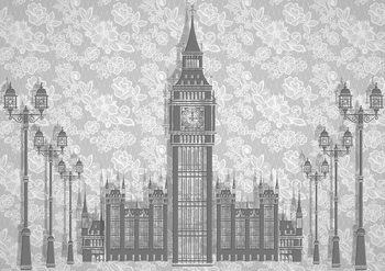 Fototapeta  Londýn - Čiernobiela kresba