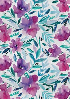 Fototapeta Loose pink floral watercolour repeat