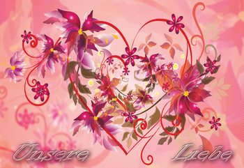 Fototapeta Love Heart Flowers Swirly Design