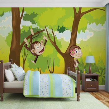 Małpy Chłopcy Sypialnia Fototapeta