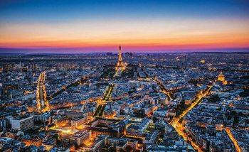 Miasto Paryż Zachód słońca Wieża Eiffla Fototapeta