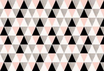 Fototapeta Modern Pink And Black Geometric Triangle Pattern