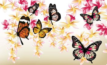 Motyle i kwiaty Fototapeta