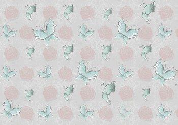 Motyle i Wzór Róże Fototapeta