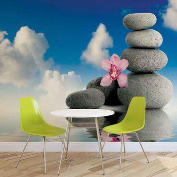 Motyw zen z kwiatami i kamieniami Fototapeta