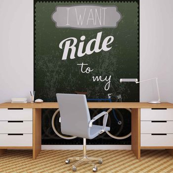 Fototapeta Nápis I want ride to my bicycle