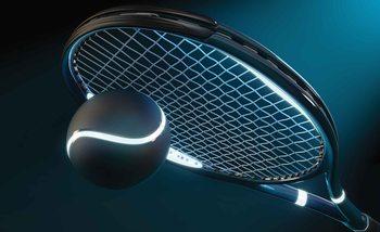 Neonowa rakieta i piłka tenisowa Fototapeta