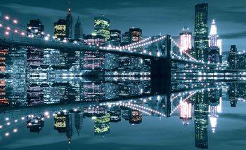 Nocny widok na Most Brookliński w Nowym Jorku Fototapeta