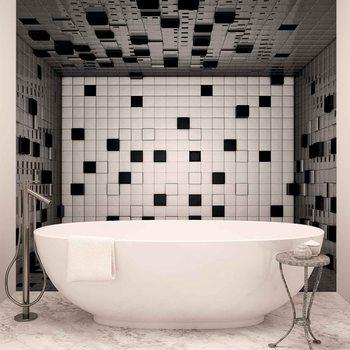 Nowoczesny abstrakcyjny wzór - czarno-białe kwadraty Fototapeta