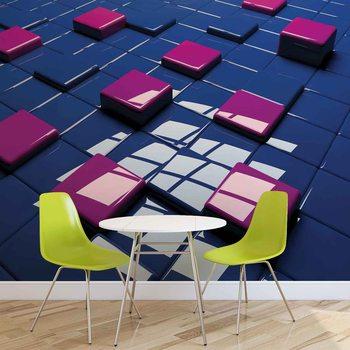 Nowoczesny abstrakcyjny wzór - niebiesko-fioletowe kwadraty Fototapeta