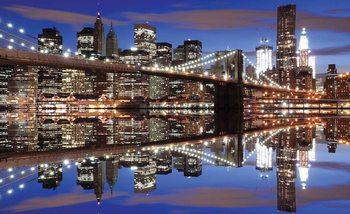 Nowy Jork nocą - Most Brookliński Fototapeta