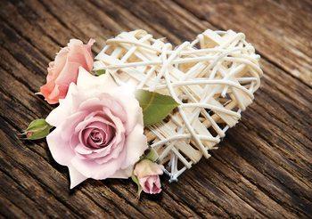 Różowe Serce z różą Fototapeta