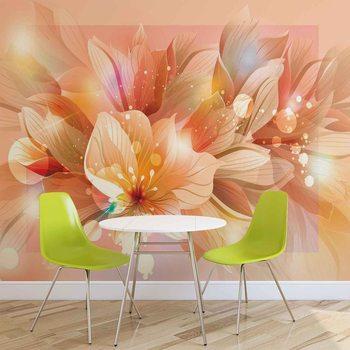 Rysunek pomarańczowych kwiatów Fototapeta