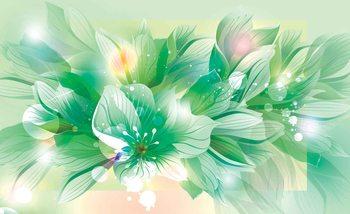 Rysunek zielonych kwiatów Fototapeta