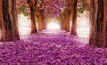 Ścieżka wśród drzew i różowych kwiatów Fototapeta